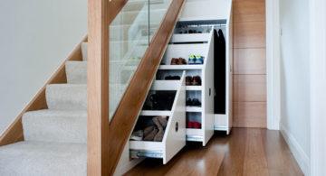 Шкаф под лестницей, плюсы, разновидности и цветовая гамма