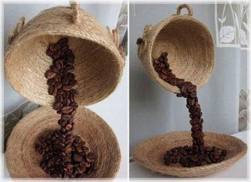 Парящая чашка из кофейных зёрен своими руками, пошаговый мастер-класс