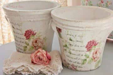 Декупаж цветочных горшков — салфеткой, яичной скорлупой, тканью