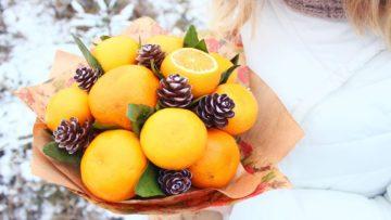 Как сделать букет из мандаринов своими руками —  идеи оформления новогоднего букета + видео мастер-класса